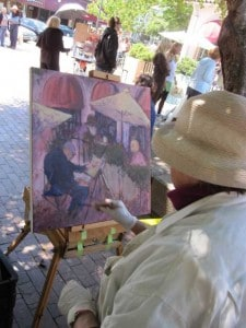 Rhoda paints at the 2010 Mill Valley Paint Off