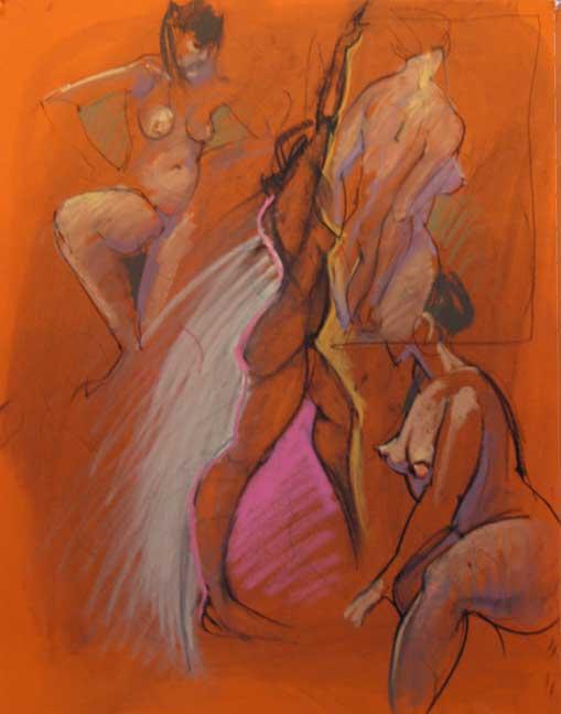 Four Nudes On Orange Paper