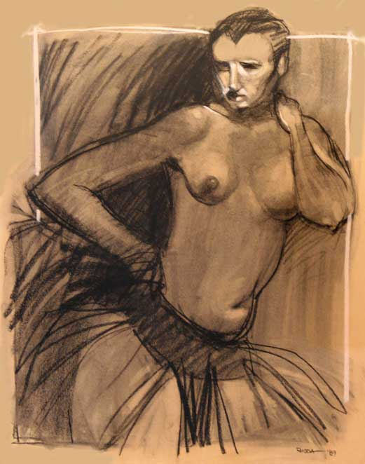 Nude With Black Tutu Figure Drawing