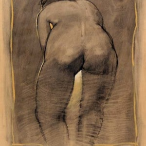 Charcoal Drawing On Canson Paper: Rear View Of Nude Female Figure Bending Forward