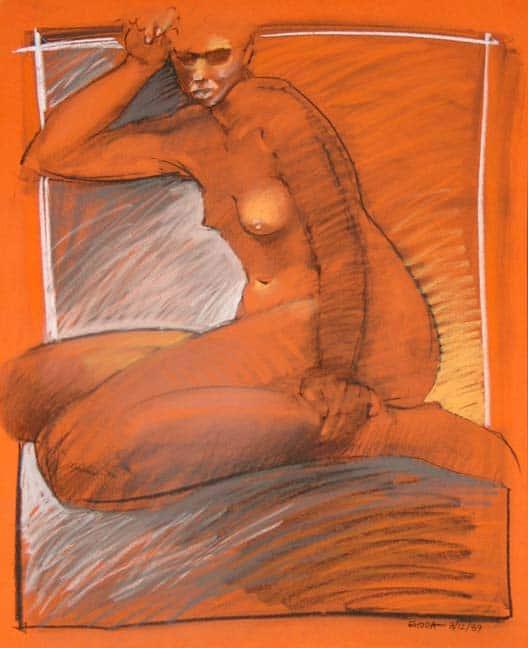 Seated Nude On Orange Paper