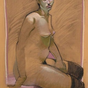Charcoal Drawing Of A Seated Nude Wearing Black Over-the-knee Stockings