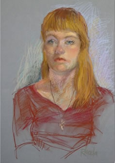 Pastel portrait of young girl