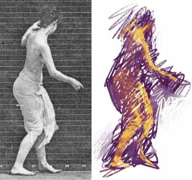 colorized enhancement of a photo from the dancer sequence by E. Muybridge