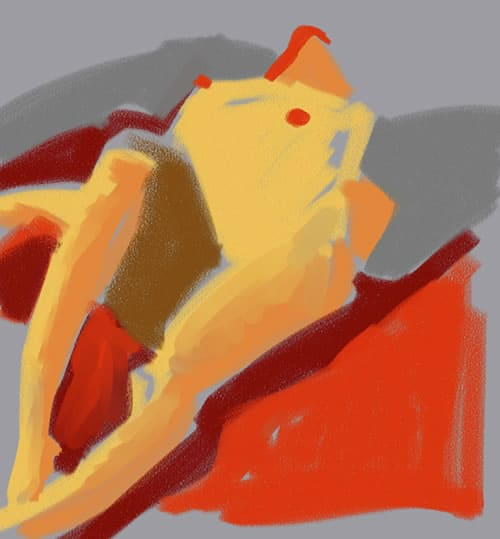 Reclining Nude On Red Blanket