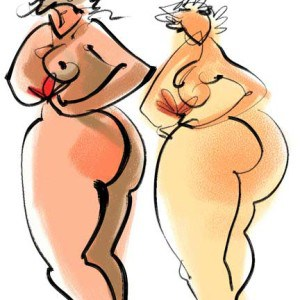 Digital Drawing Of Two Voluptuous Figures
