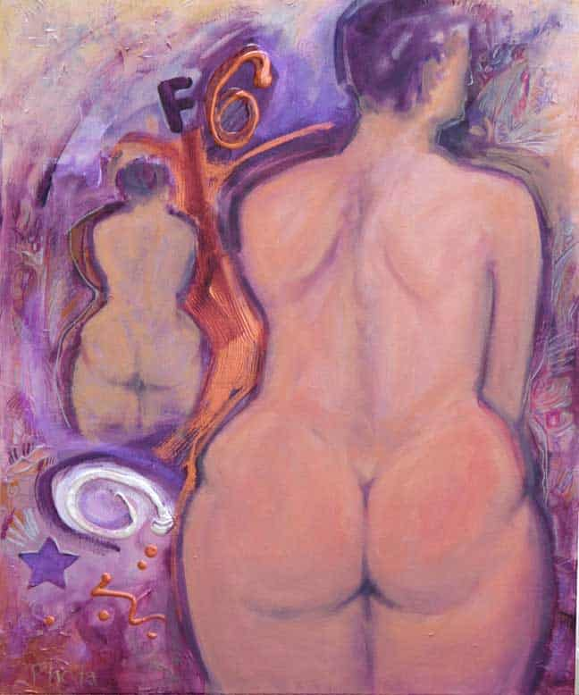 Large And Small Torso Of Female Nude, Viewed From Behind. Background Is Purple And Copper Graffiti