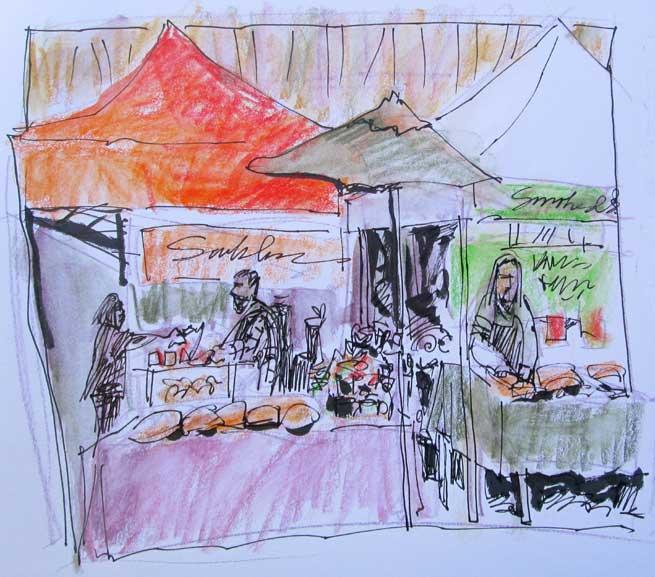 Colorful Market Sketching