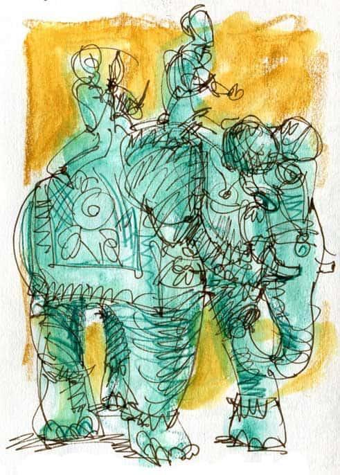 India Sketch: Elephant Statue