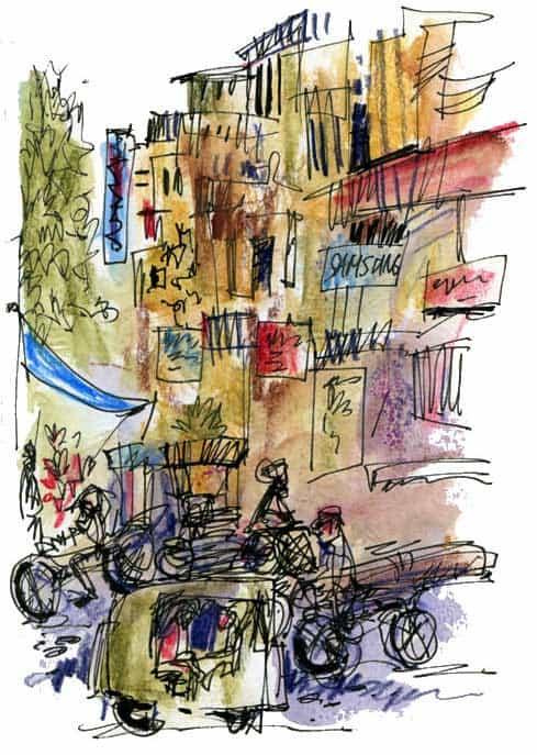 India Sketch: Delhi Street Corner
