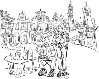 custom caricature rough sketch complex scene