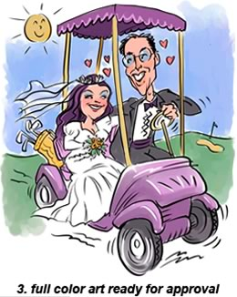 3. golf bride and groom wedding caricature full color art ready for approval