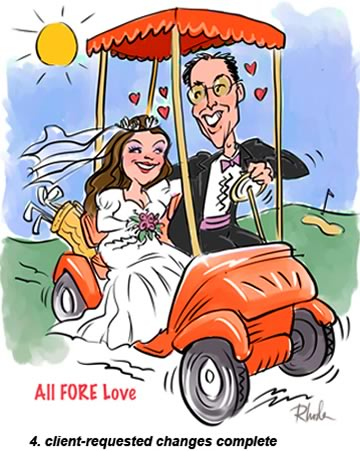 4. finished golf wedding caricature drawing from photo