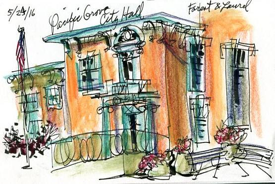 Sketching Monterey Buildings