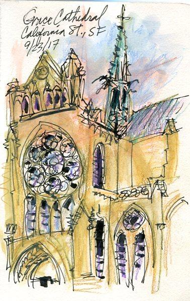 Sketching Grace Cathedral In San Francisco