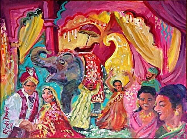 Indian wedding painting by Rhoda Draws