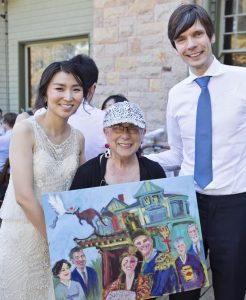 artist Rhoda Draws with Yoona Glen wedding painting