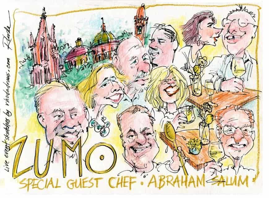 Zumo Event sketch, guest chef Abraham Salum