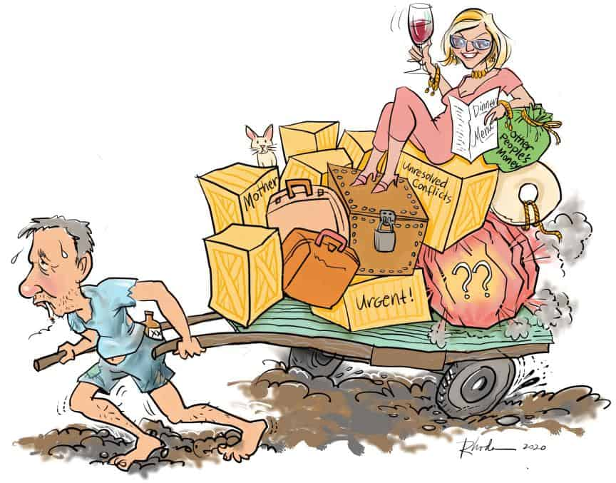 custom caricature: Gene hauling a cart with his ex- and her baggage