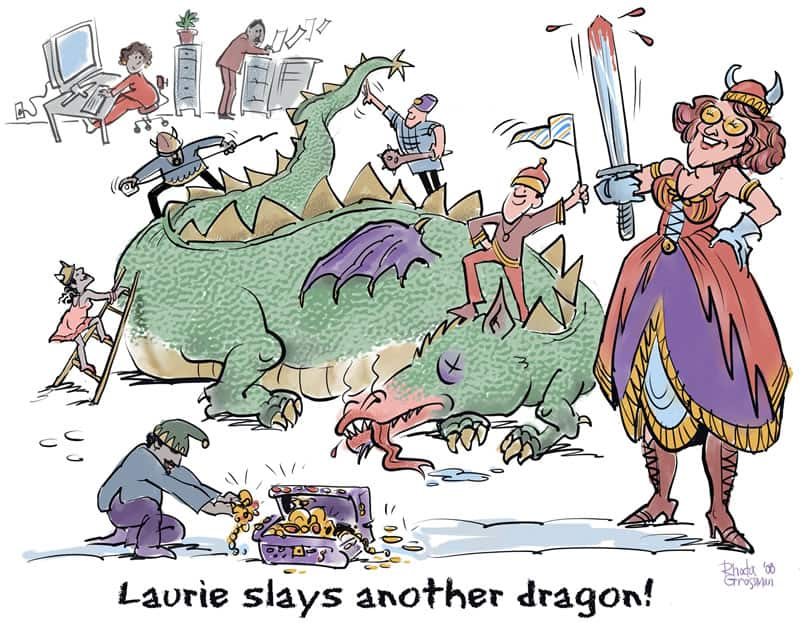 Group caricature gift - Laurie Slays Another Dragon
