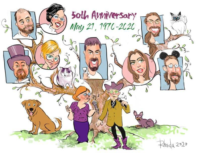 Family Tree caricature, 50th Anniversary gift