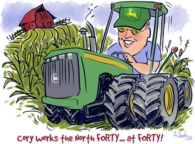 caricature from photos - 40th birthday on a John Deere tractor
