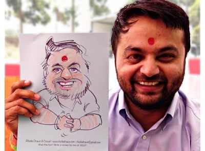 colored pencil caricature - bindi man