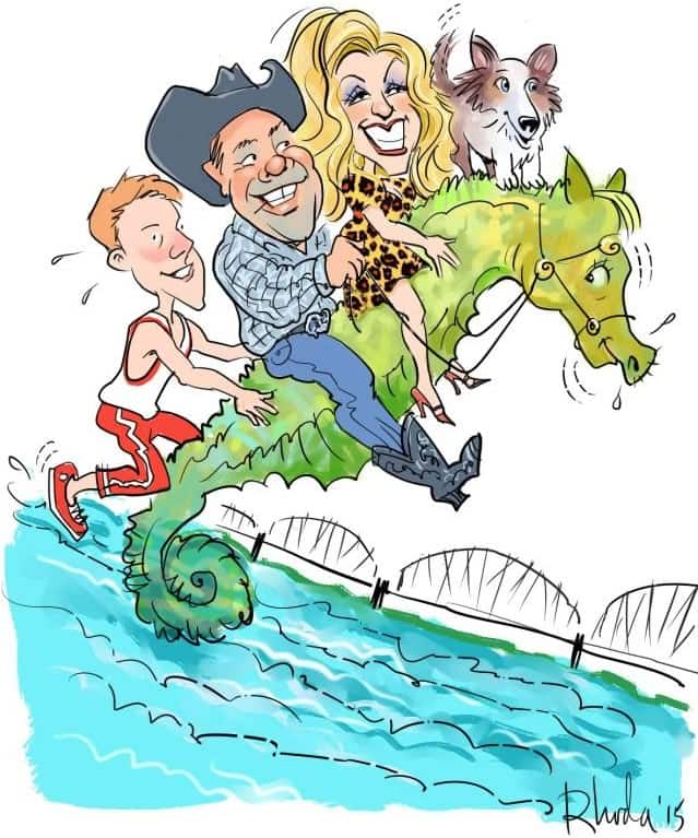 Family group caricature posed on a seahorse